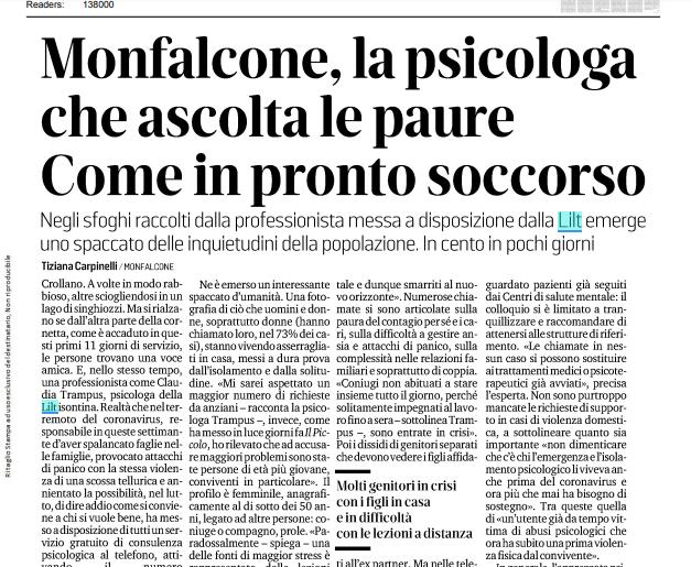 Monfalcone, la psicologa che ascolta le paure
